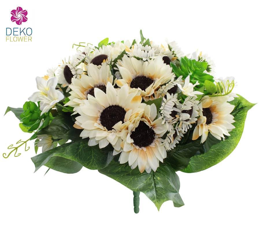 Sonnenblumenstrauß weiß 32 cm