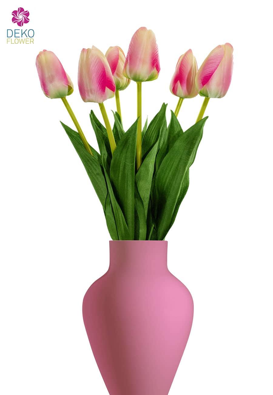 Tulpen Blumen künstlich rosa 55 cm, 6er-Pack