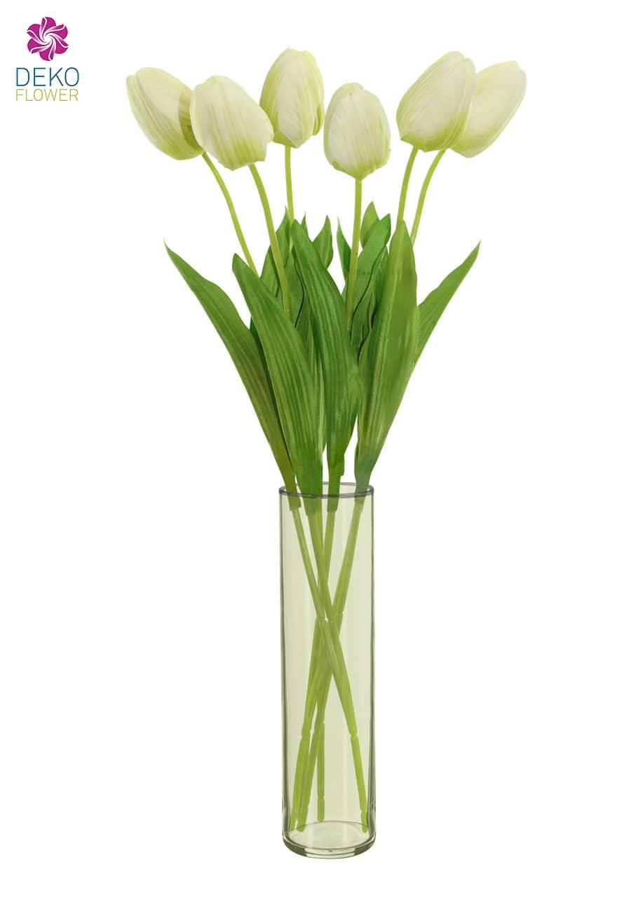 Künstliche Tulpen Blumen creme grün 49 cm 6er Pack