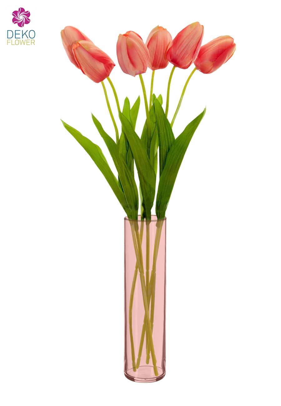 Künstliche Tulpen Blumen korallenrot 49 cm 6er Pack