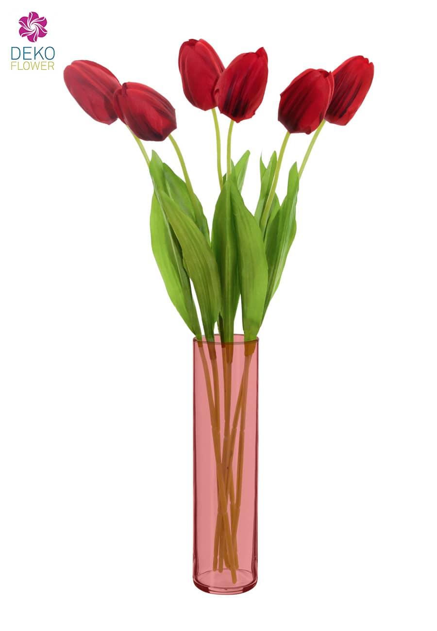 Künstliche Tulpen Blumen rot 49 cm 6er Pack