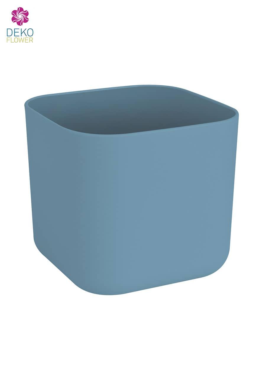 Übertopf quadratisch taubenblau 18 cm