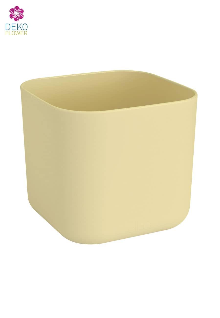 Übertopf quadratisch pastellgelb 18 cm