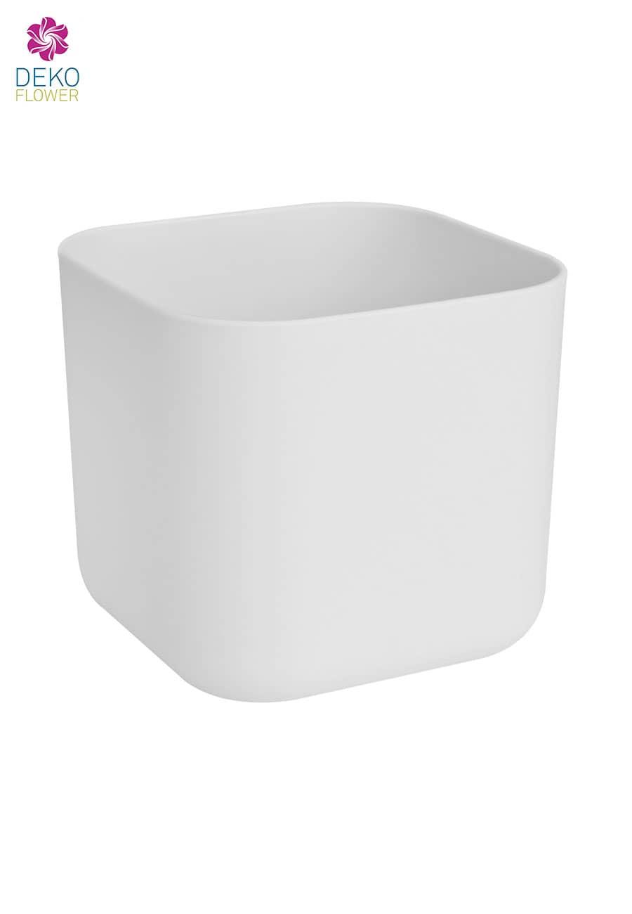 Übertopf quadratisch weiß 18 cm