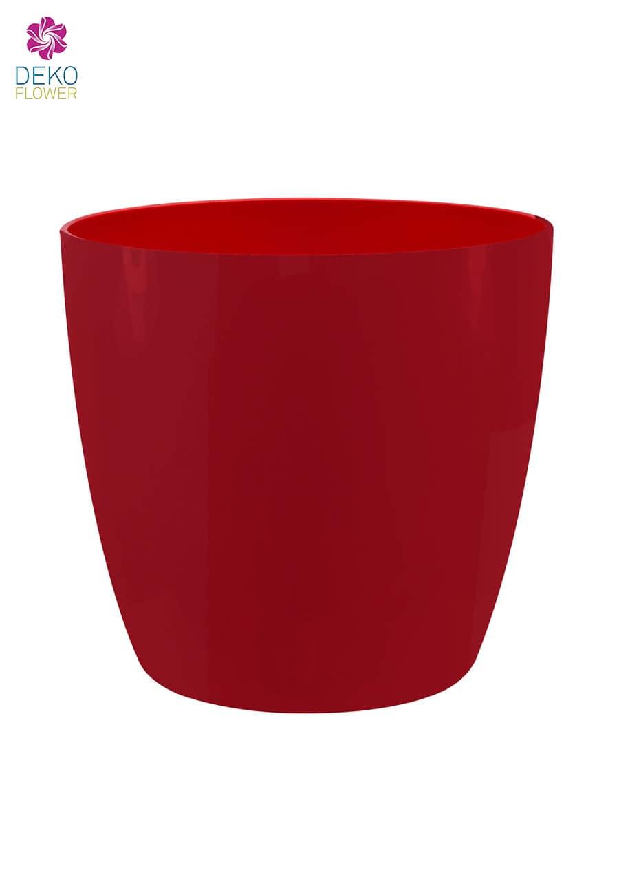 Übertopf rund glänzend rot 16 cm