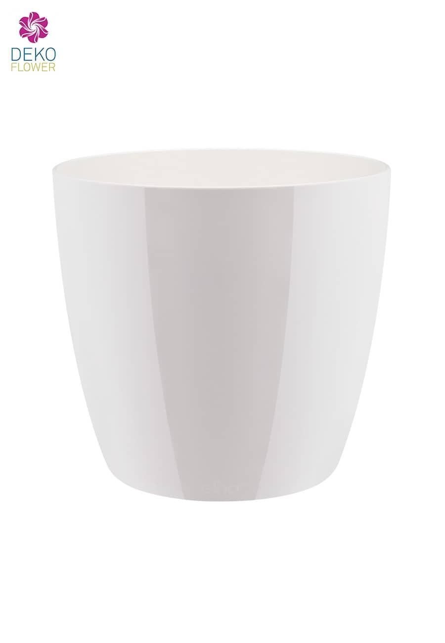 Übertopf rund glänzend weiß 18 cm