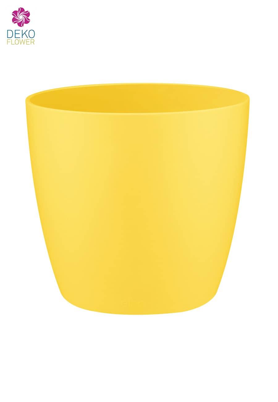 Runder Übertopf gelb 10.5 cm