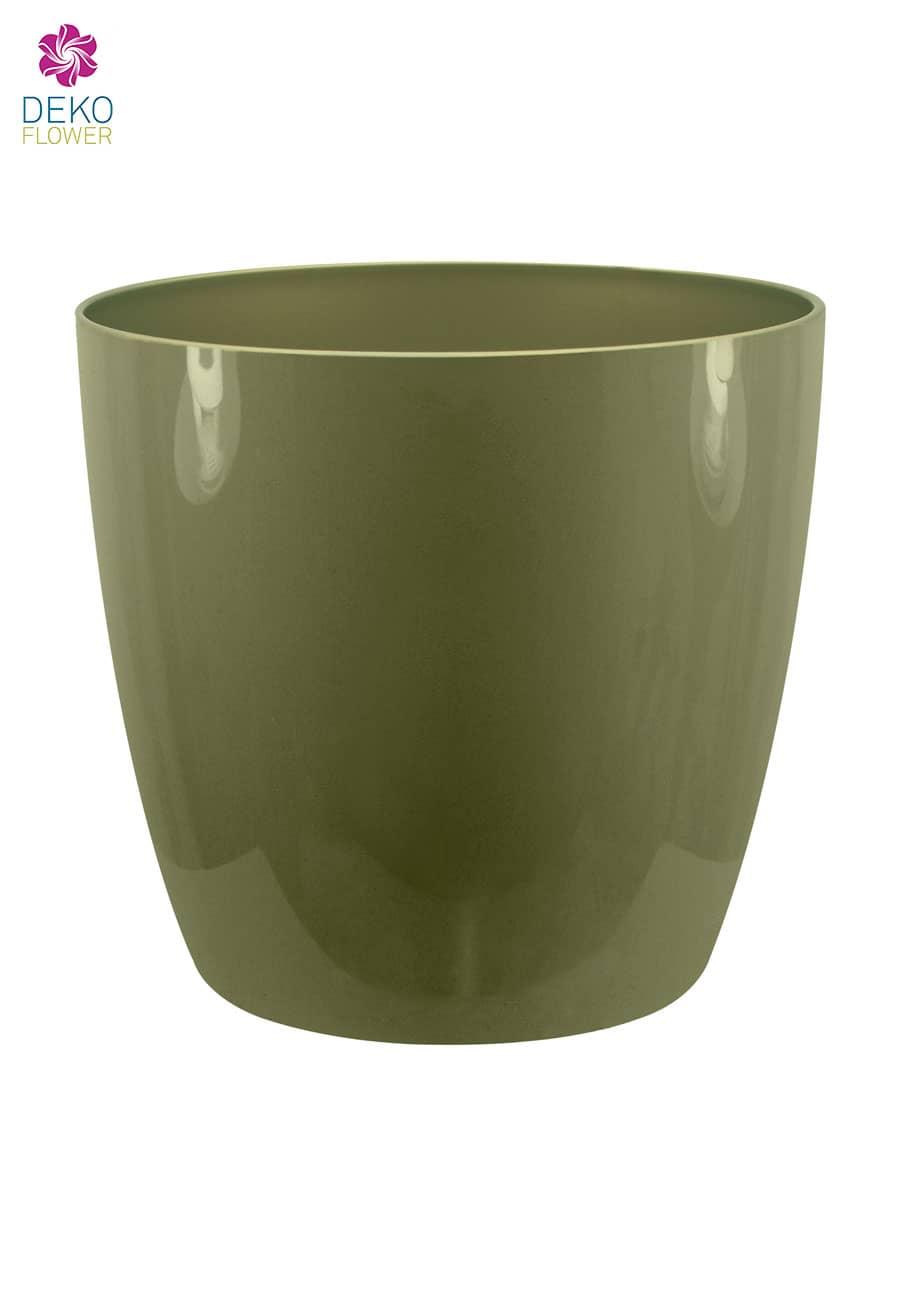Übertopf brussels rund schimmerndes grün 14 cm