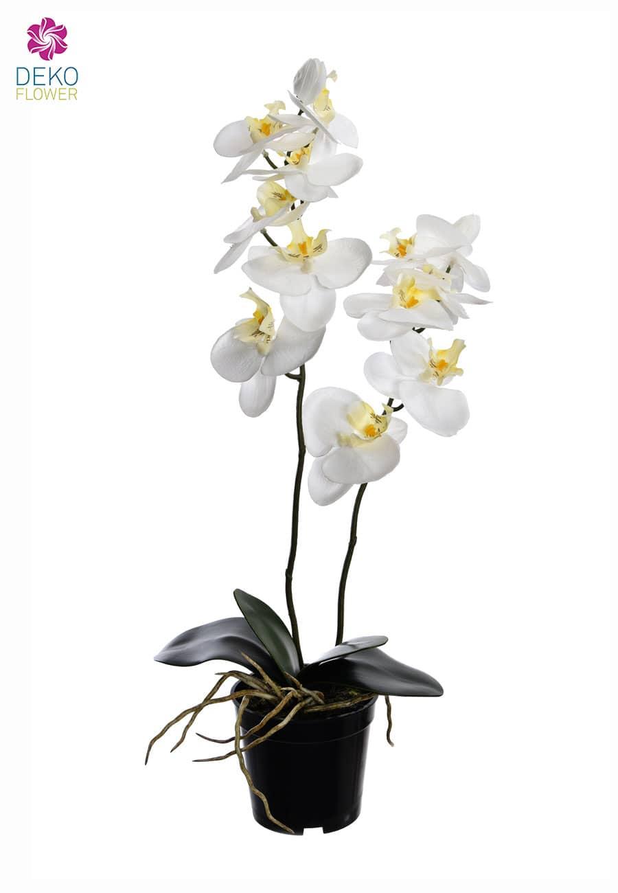Weiße Kunstorchidee im Topf 57 cm