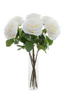 Weiße Kunstrosen 55 cm 6er Pack