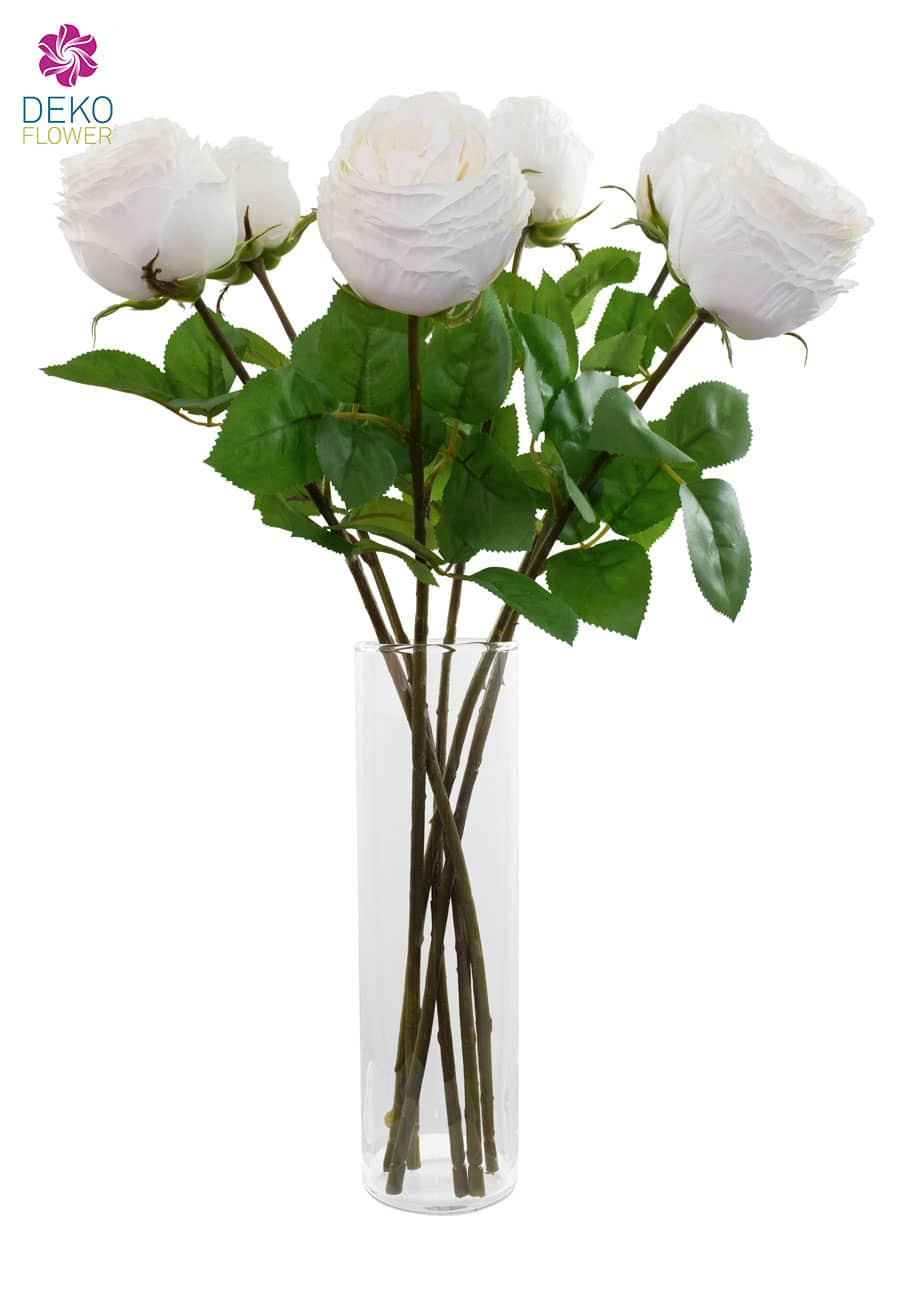 Weiße Kunstrosen halboffen 55 cm 6er Pack
