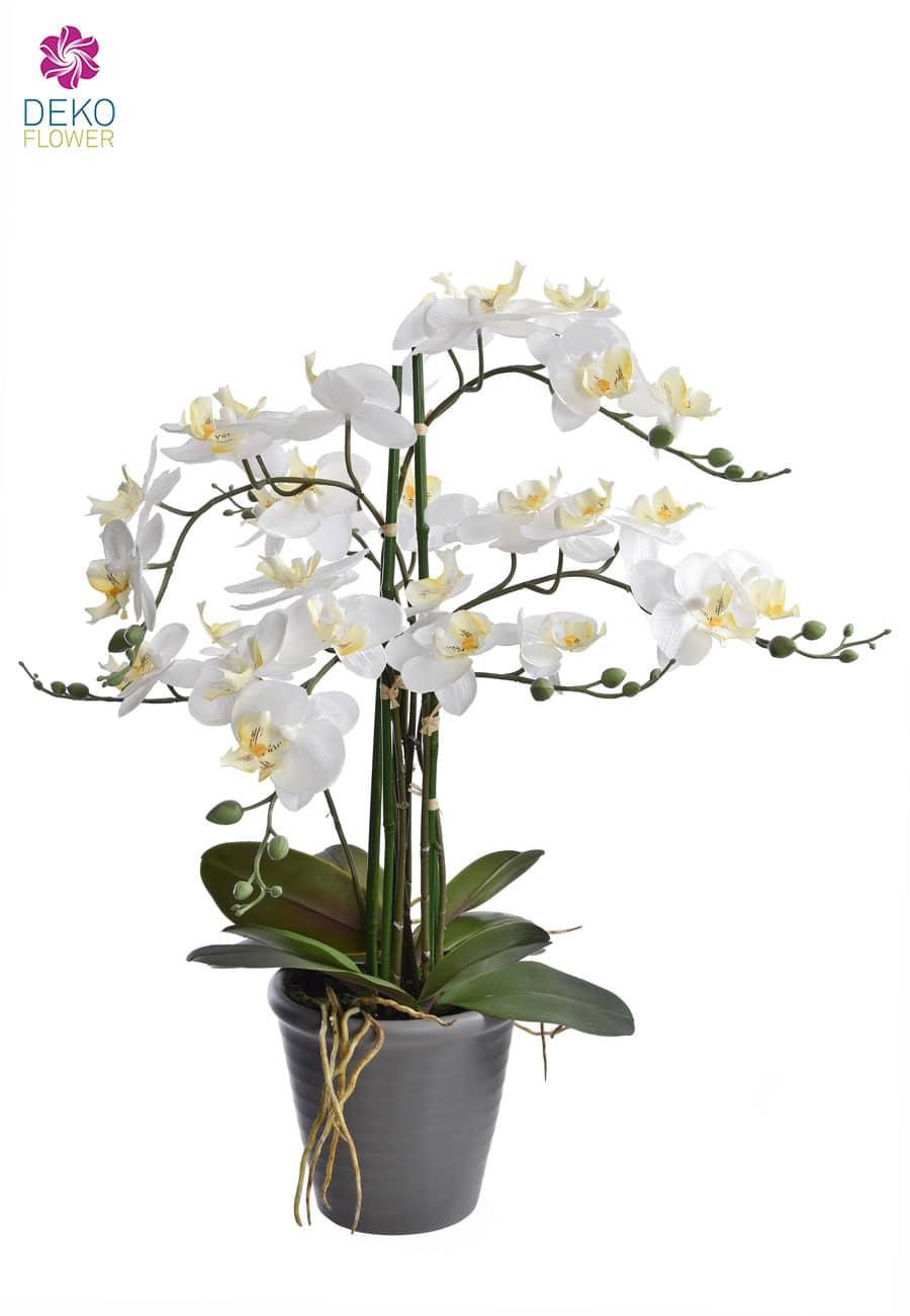 Weiße Orchidee künstlich 69 cm getopft