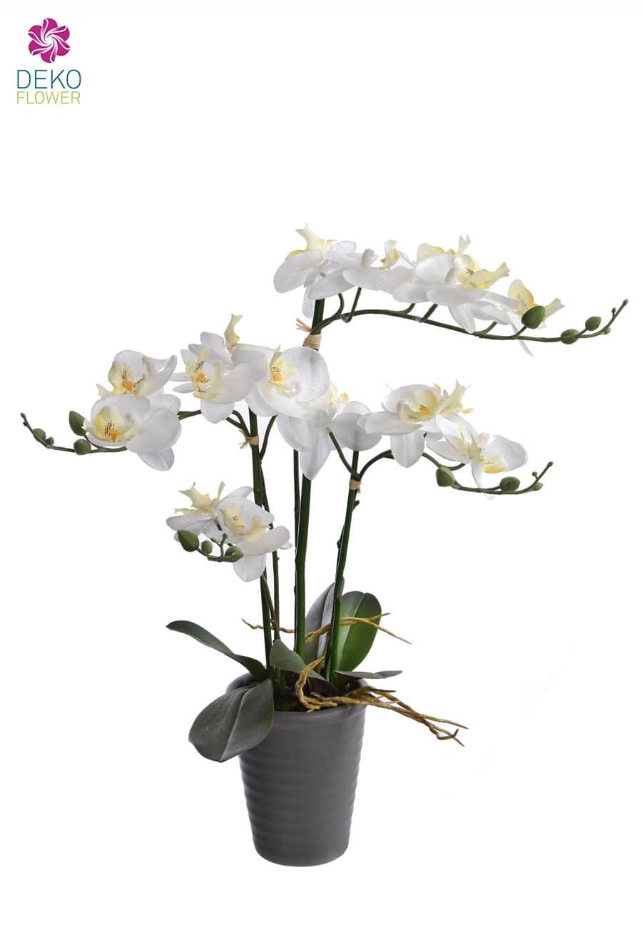 Weiße Orchidee künstlich im Topf 59 cm