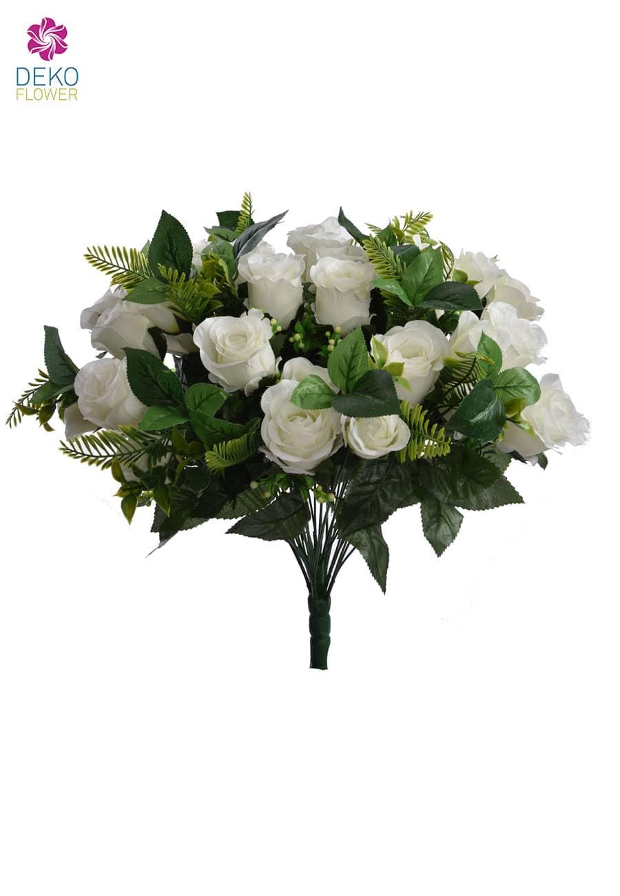 Weißer Rosenstrauß künstlich 50 cm
